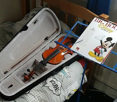 violin, case, stand, book, tuner  full size