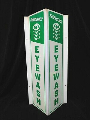 90 DEGREE EYE WASH SIGN * ( Emergency  Eye Wash ) *  NEW OLD STOCK