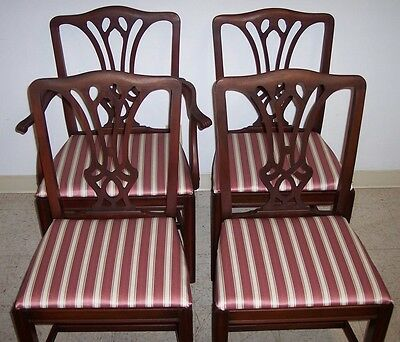 Vintage Set (4) Mahogany Chippendale Dining Chairs Bernhardt Furniture Co