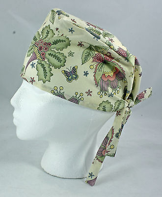 Surgical Scrub Cap or Chemo Hat with Butterfly and Flower, Unisex tie back scrub