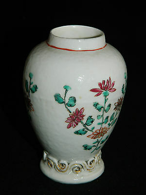 Antique Chinese tea caddy vase 18th c famille rose