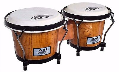"AM Percussion ELEMENT 7"" and 8"" Deluxe Lap Bongos - NATURAL with Buckskin Heads"