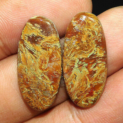 19.9Cts 100% NATURAL GENUINE! BLOOD STONE PAIR OVAL 27X12 LOOSE CAB GEMS QEM456