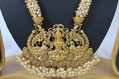 Bollywood Style Indian Gold Plated Jewellery Temple Necklace Earring set  214