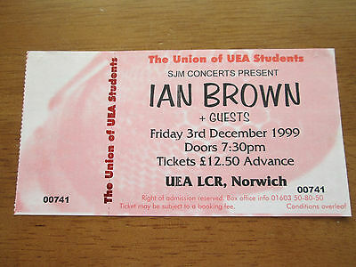Ian Brown - Norwich Uea Lcr 3.12.99 Un Used Concert Ticket