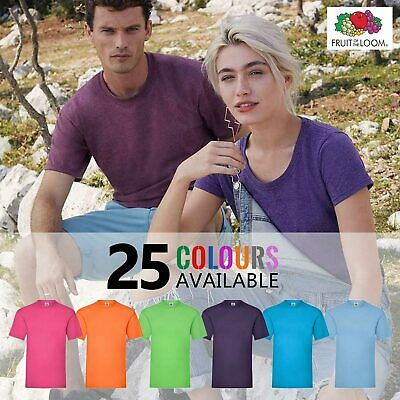 FRUIT OF THE LOOM Mens Womens Plain 100% Cotton T-Shirt • 25 COLOURS • S - 5XL