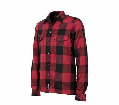 RKsports Motorcycle Lumberjack Red Grey Unisex Made with Kevlar Shirt CE armour