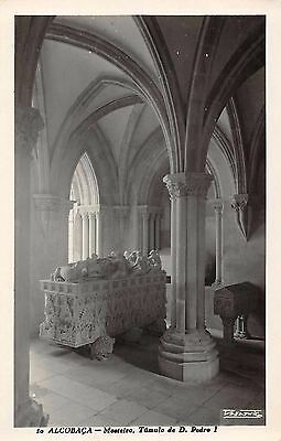 Alcobaca Portugal tomb of D Pedro I in monastery real photo pc (Z30607)
