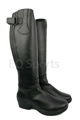 SPECIAL OFFER! Arizona Long Faux Leather Riding Boots With Zip SIZES 3-9 Black