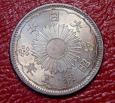 Japan 50 Sen 1930 Showa 5 UNC Lightly Toned Nice Silver Coin!