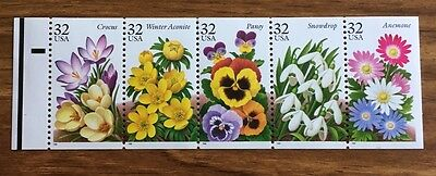 USA - UNFOLDED BOOKLET PANE SC# 3029a WINTER GARDEN FLOWERS