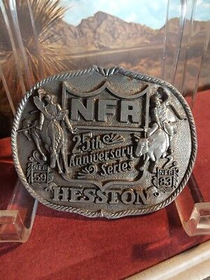Vintage Belt Buckle. NFR 25th Anniversary Hesston First Edition Rodeo