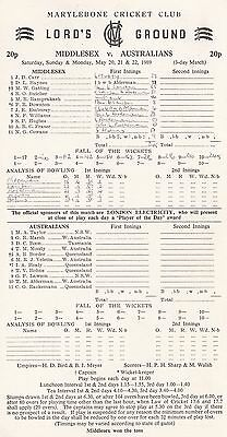 Scorecard: MIDDLESEX v AUSTRALIANS... Lord's, May 1989... Ashes