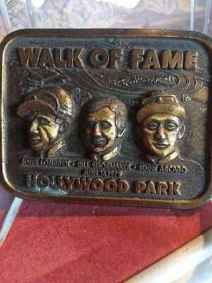 Vintage Brass Belt Buckle. 1979 Hollywood Park Racetrack Jockeys Walk of Fame
