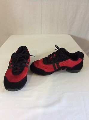 Skazz Blitz3 Leather/Mesh Dance Sneakers Red/Black Size 9 M