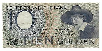 10 gulden Netherlands banknote, WWII, ND(1943), KM #59, VF