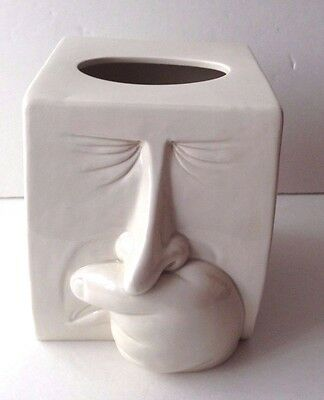 Fitz and Floyd white Sneeze sneezing man tissue cover box VGC