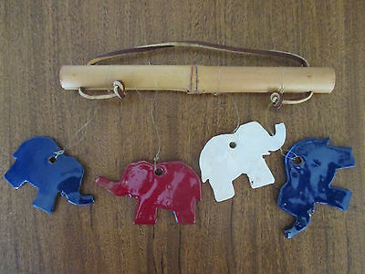 @@VINTAGE Republican ART Pottery ELEPHANT Wind CHIMES Bamboo
