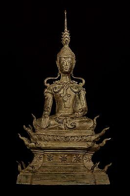 19th Century Antique Laos Enlightenment Royal Buddha Statue - 69cm/28""