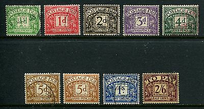 GB GREAT BRITAIN E8R sg d19 - d26 POSTAGE  DUES F/USED SET BOTH 5d's  d24a MNH