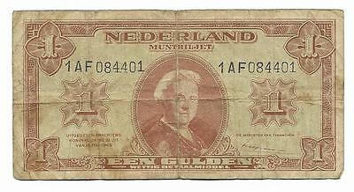 1 gulden Netherlands banknote, ND(1945) WWII, P-70, State Note