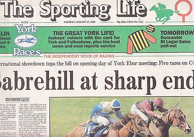 """The Sporting Life Newspaper - Tuesday August 17, 1993 """"Juddmonte"""""""