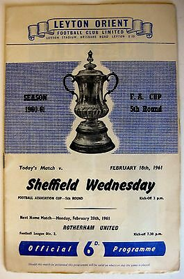 Leyton Orient v Sheffield Wednesday 1960/61 FA. Cup R5. programme.