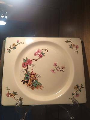 Clarice Cliff  'The Biarritz' plate. Oriental Dora Rose pattern