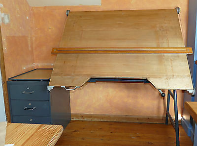 Vintage 1962 Admel Architects / Designers / Drawing Board with 3 Drawer Cabinet