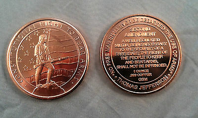"1oz COPPER COINS "" 2ND AMENDMENT "" .999 FINE COPPER ROUNDS BULLION"