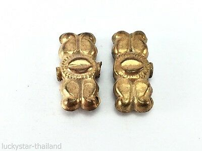 Lot 2 Antique FLY WING EYES Gold Plated Bead Handmade Old Afghanistan RARE H296
