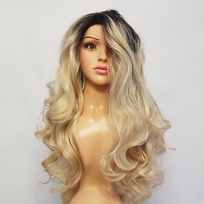 """Synthetic Wavy Lace Front Hand Tied Ombre Wig Dark Roots/Golden Blonde 26"""""""