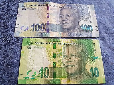 SOUTH AFRICA 100 and 10  Rand 2012 Mandela  (B408)