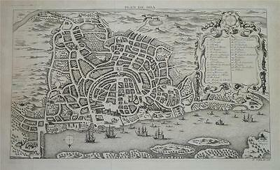 ANTIQUE c1750 BELLIN MAP PLAN OF A BIRD'S EYE VIEW OF GOA, INDIA - with Ref. Key