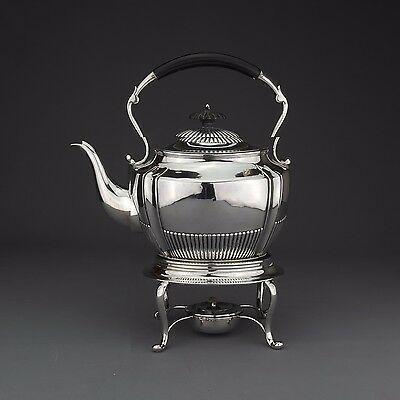 Ornate Antique Solid Sterling Silver Tea Kettle on Stand, London, 1900