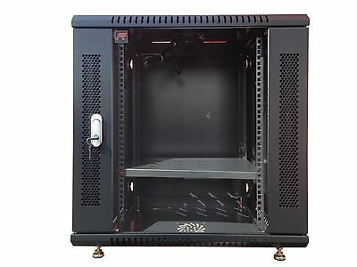 """9U Wall Mount IT Network FULLY EQUIPPED Server Rack Cabinet Enclosure 18"""" Depth"""