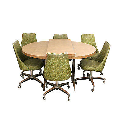 Mid-Century Modern Chromcraft Green Vinyl Chrome Dining Set 6 chairs + table