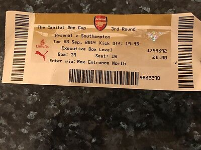 Tickets Stubs: 2014 Capital One Cup,3rd RD- ARSENAL v SOUTHAMPTON, 23 Sept