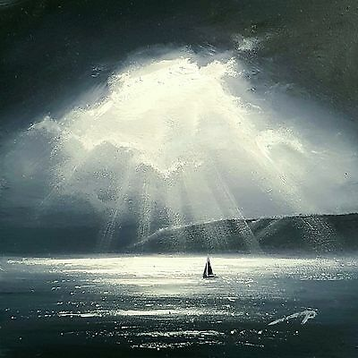 """Original Painting - black and white miniature/ seascape  - 5""""x5"""" oil on board"""