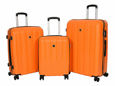 Quality Travel Luggage ORANGE Suitcase Strong Hard Shell TSA Lock 4 Wheeler Bags