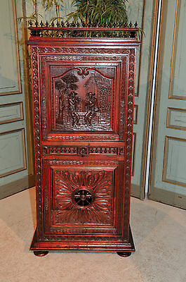 Antique French Breton Cabinet Well Carved Narrow Model Art in Furniture