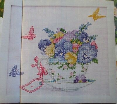 Teacup full of Pansies, counted cross stitch chart