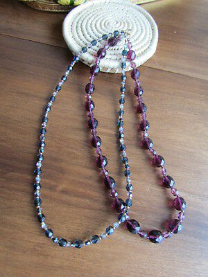 Vintage Murano Art glass Necklace Ametist Lavender Faceted Black beads Craft Lot
