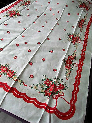 Tablecloth New Vintage 40-50 Christmas Printed Poinsettia Abstract Linen Red