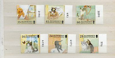 Excellent Quality Set Of Alderney Cat Stamps, Mnh, High Fv