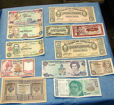 12 Vintage World Currency Bank Notes--------12 Pieces Currency in Lot