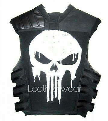 Punisher War Thomas Jane Tactical Black Leather Vest Jacket Halloween Costume