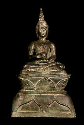 19th Century Antique Bronze Laos Charity Gautama Buddha Statue - 64cm/25""
