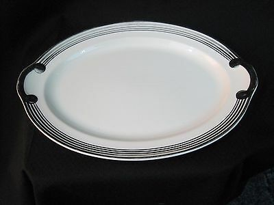 "TAYLOR SMITH TAYLOR 9.5""X 13.5""beige platter 5 ring platinum 12 38 ?"