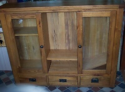 Harveys Toulouse oak display cabinet with drawers